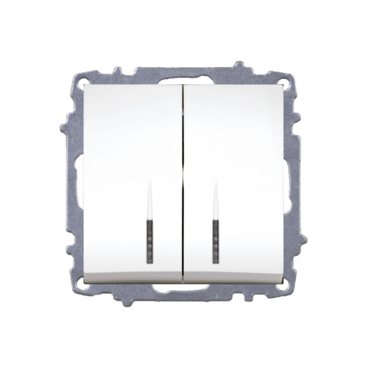Изображение ZENA модуль белый Выключатель 2 кл с подсветкой