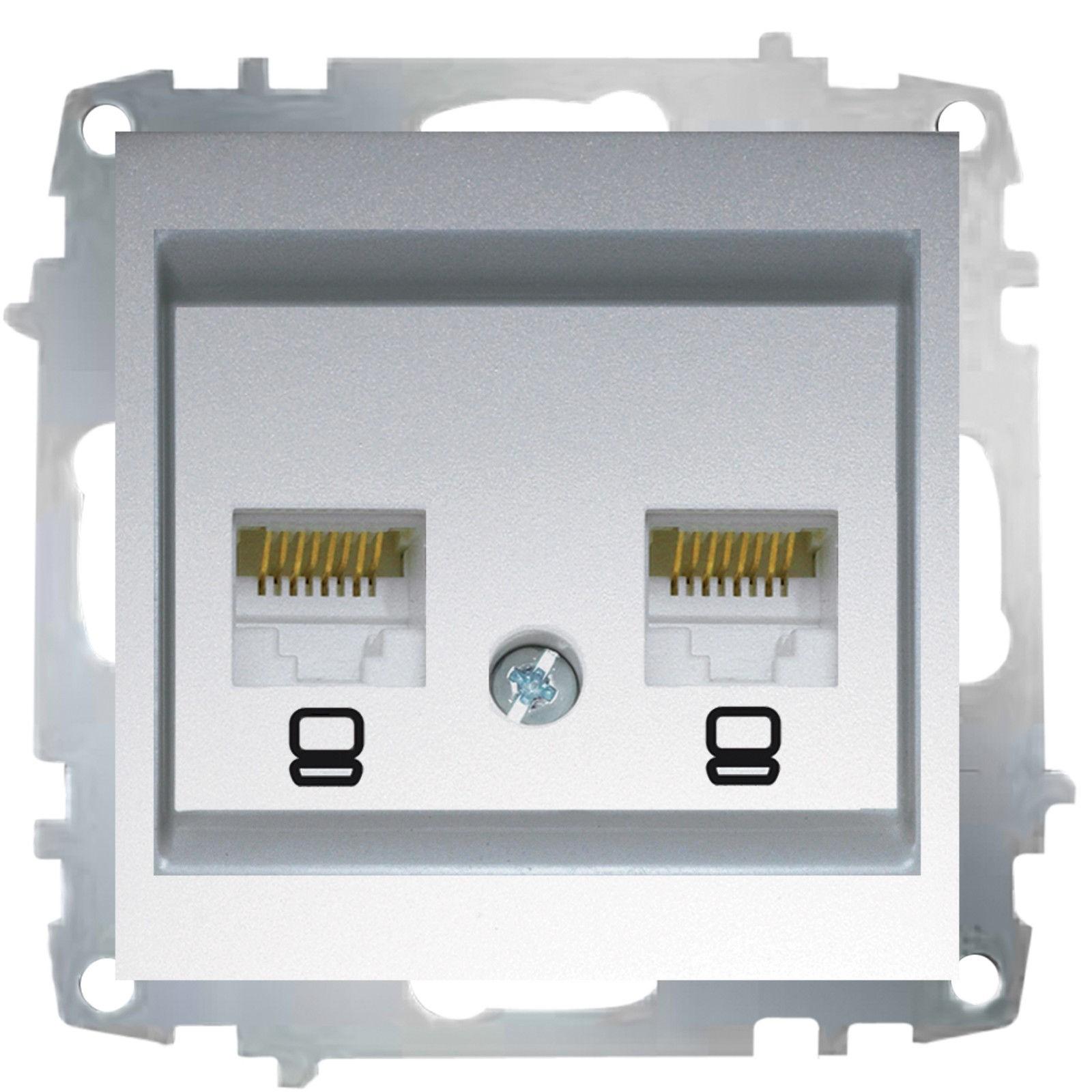 Изображение ZENA модуль серебро Розетка компьютерная (2раз Е5)