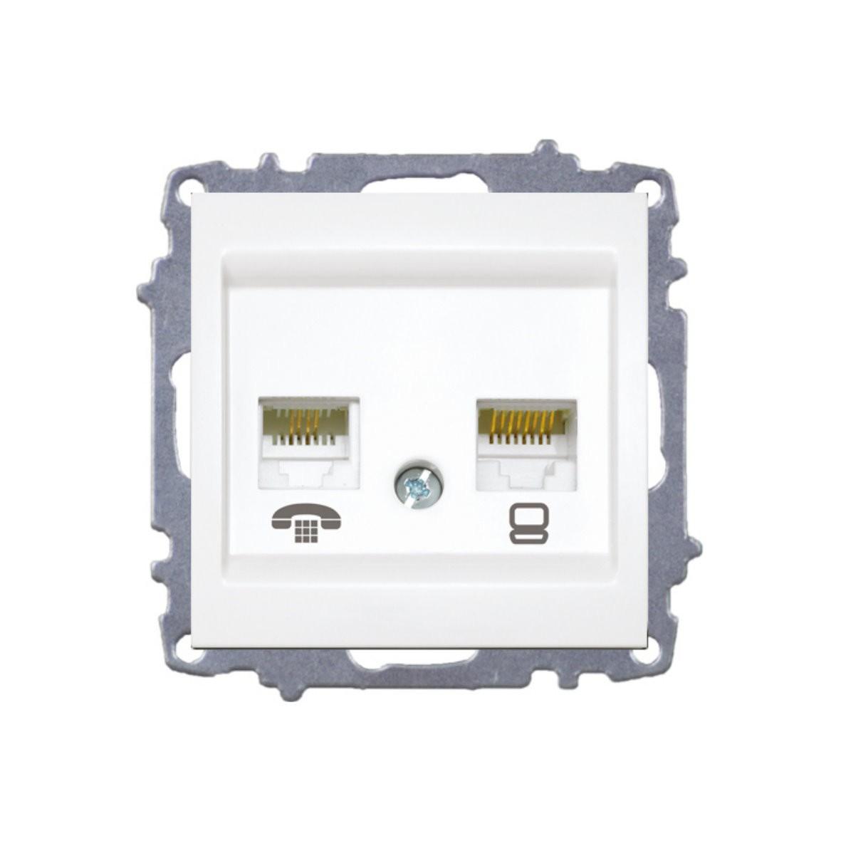 Изображение ZENA модуль серебро Розетка компьютерная/GAT5/+телефон