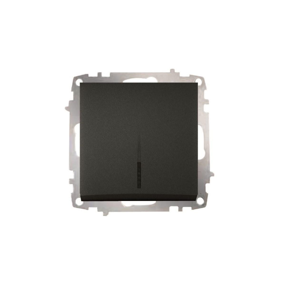 Изображение ZENA модуль черный Выключатель 1 кл с подсветкой