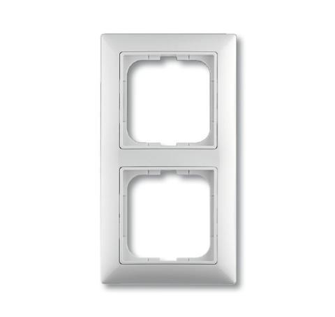 Изображение Basic белый рамка 2 поста с декоративной накладкой