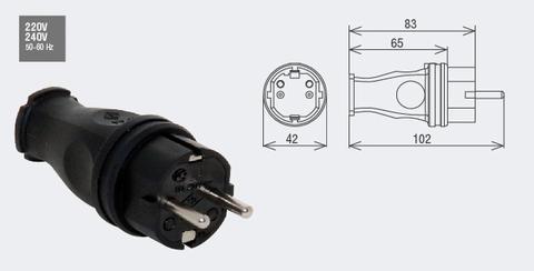 Изображение Вилка переносная /каучук/ 2Р+Е, 16А, 220-240В