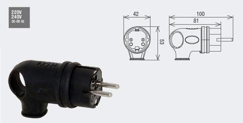 Изображение Вилка переносная угловая /каучук/ 2Р+Е, 16А, 220-240В