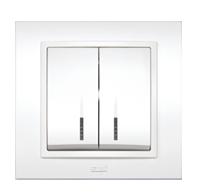 Изображение ZENA белый Выключатель 2 кл с подсветкой