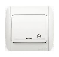 Изображение ZIRVE белый+вставка Выключатель проходной с подсветкой