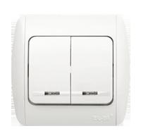Изображение ZIRVE белый+вставка Выключатель 2 кл с подсветкой