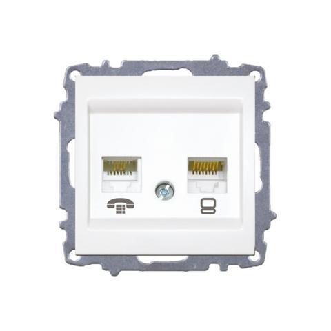 Изображение ZENA модуль белый Розетка компьютер /GAT6/+телефон