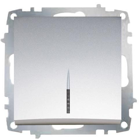 Изображение ZENA модуль серебро Выключатель 1 кл с подсветкой