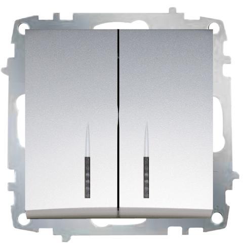 Изображение ZENA модуль серебро Выключатель 2 кл с подсветкой