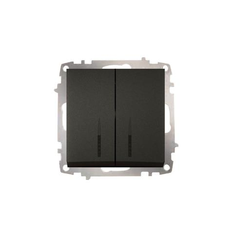 Изображение ZENA модуль черный Выключатель 2 кл с подсветкой