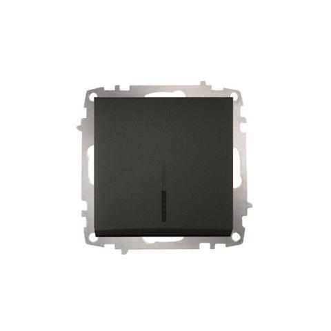 Изображение ZENA модуль черный Выключатель проходной с подсветкой