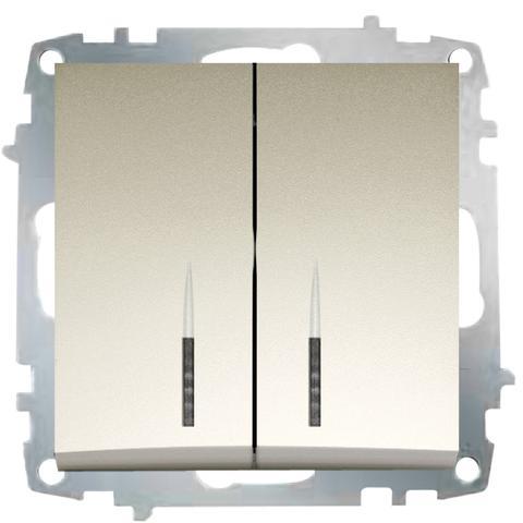 Изображение ZENA модуль титан Выключатель 2 кл с подсветкой