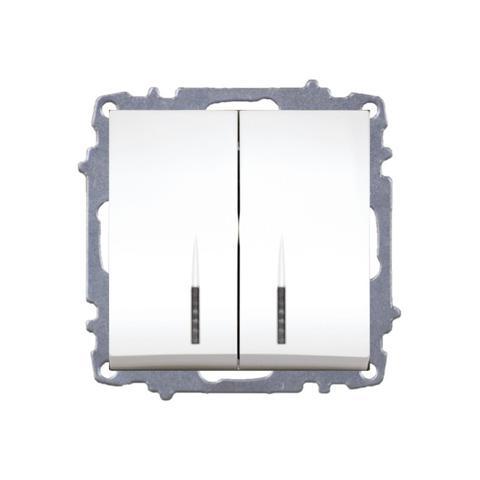 Изображение ZENA модуль жемчуг Выключатель 2кл с подсветкой