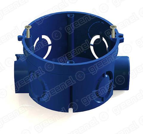 Изображение Коробка установочная для кирпичных стен с саморезами 68*45 синяя (100шт)