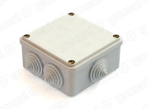 Изображение Коробка распаячная облегченного типа для наружного монтажа белая 100*100*45, IP44, 6 вводов (48 шт) упакована в пленку