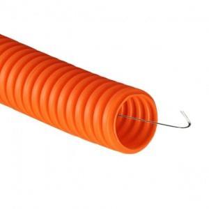 Изображение Труба гофрир. гибкая легкая ПНД 20 оранжевая с зондом /100м/