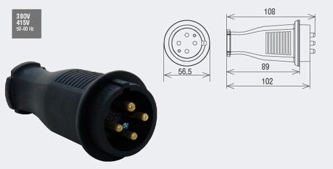 Изображение Вилка каучуковая трехфазная 220-240В
